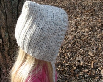 Little Girls Pixie Hat Crocheted with Braided Ties
