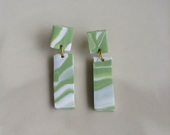 Large Green and White Drop Earrings-  Handmade Polymer Clay Earrings made by Bonita & Co