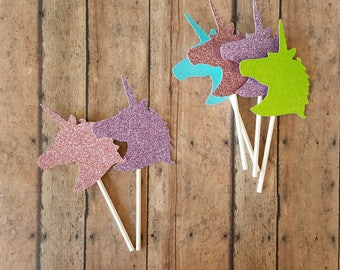 Unicorn Cupcake Toppers, Unicorn Party Decor, 1st Birthday, Unicorn Cake Topper, Unicorn Horn, Unicorn Party Favors Set of 12