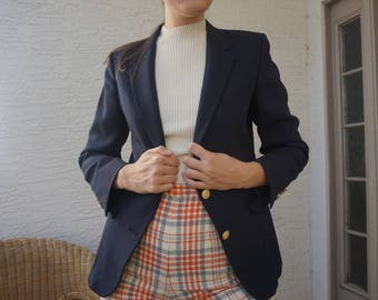 80s Navy Single Breasted Blazer with Three Gold Button Sleeve / Made in U.S.A. / XS / S