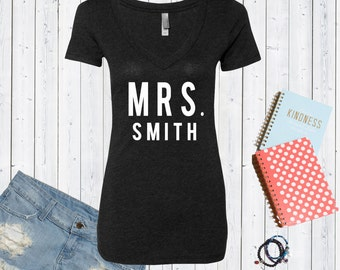 Mrs. [Custom Last Name] V neck Tshirt / High Quality Bride Tshirt / Bridal Triblend Vneck / Honeymoon Shirt