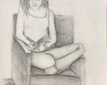 Woman Reading Drawing