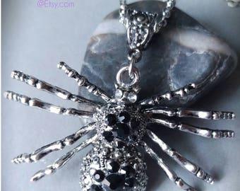 Swarovski Spider Necklace.  Black Crystals.