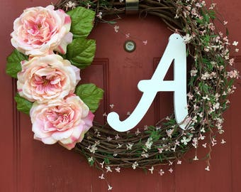 Floral Wreath - Spring Wreath - Everyday Door Wreath - Monogram Wreath - Summer Wreath- Home Decor- Wreath - Grapevine Wreath