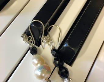 Asymmetrical Black & White Earrings OOAK