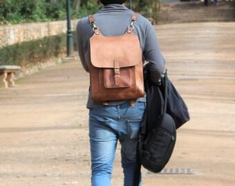 REAL LEATHER Backpack for Women & Men, Handmade Leather Handbag, Laptop Bag, Retro Vintage aka Messenger Bag Tote Rucksack Weekender