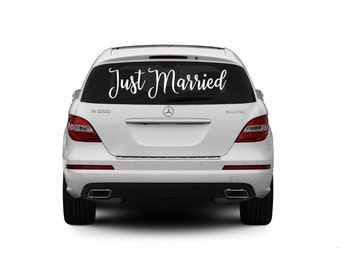 Sticker voiture Just Married, Just Married autocollant, décoration de mariage, mariage voiture décoration, autocollant de voiture de mariage, Custom Just Married signe