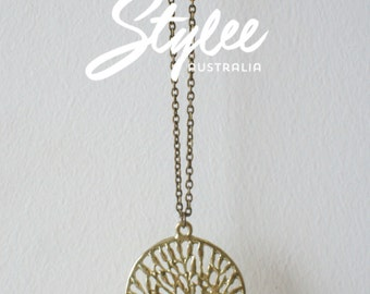 Gold-tone Tree Stainless Steel Pendant and Chain Necklace