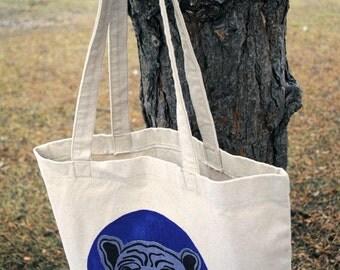 Purple Dog tote bag, dog lover tote bag, cotton tote bag, handprinted tote bag , cotton bag,