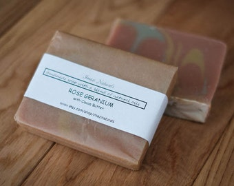Rose Geranium Handmade Soap Cocoa Butter Natural Vegan Soap Traditional 100g