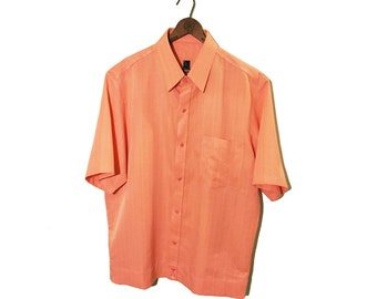 Vintage Rockabilly Short Sleeved Button-up, Peach Pink. Cuffs, IA MCM