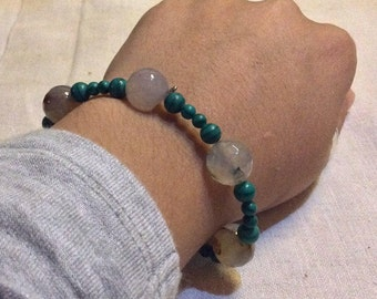 Malachite with agate bracelet
