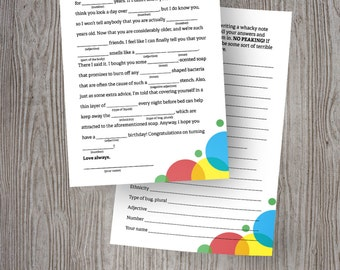 Birthday Party Mad Libs Game