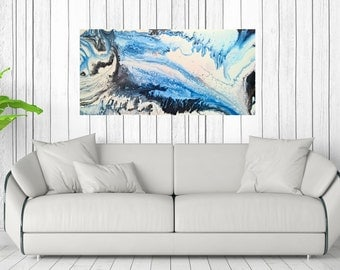 80 x 40 cm abstract image handpainted XL modern work of art painting landscape signed