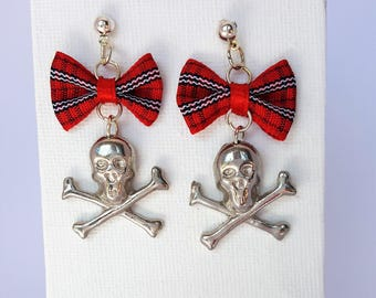 Gothic Skull and Crossbone Dangle Earrings with Red Check Bows Jewellery Jewelry