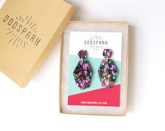 Rough Gem Dangly Earrings in Kaleidoscope Acrylic