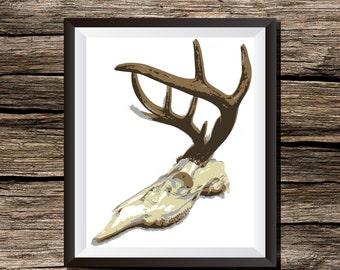 Instant Download Printable Wall Art Deer Skull Antlers Hunting Cabin Digital Print Outdoor Rugged Rustic Lodge