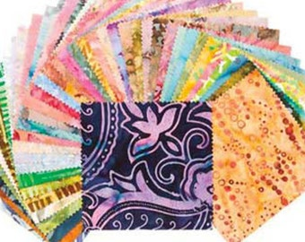 "Basically Batik Charm Pack by Benartex Studio - 40, 5""  X 5"" Precut Fabric Squares"