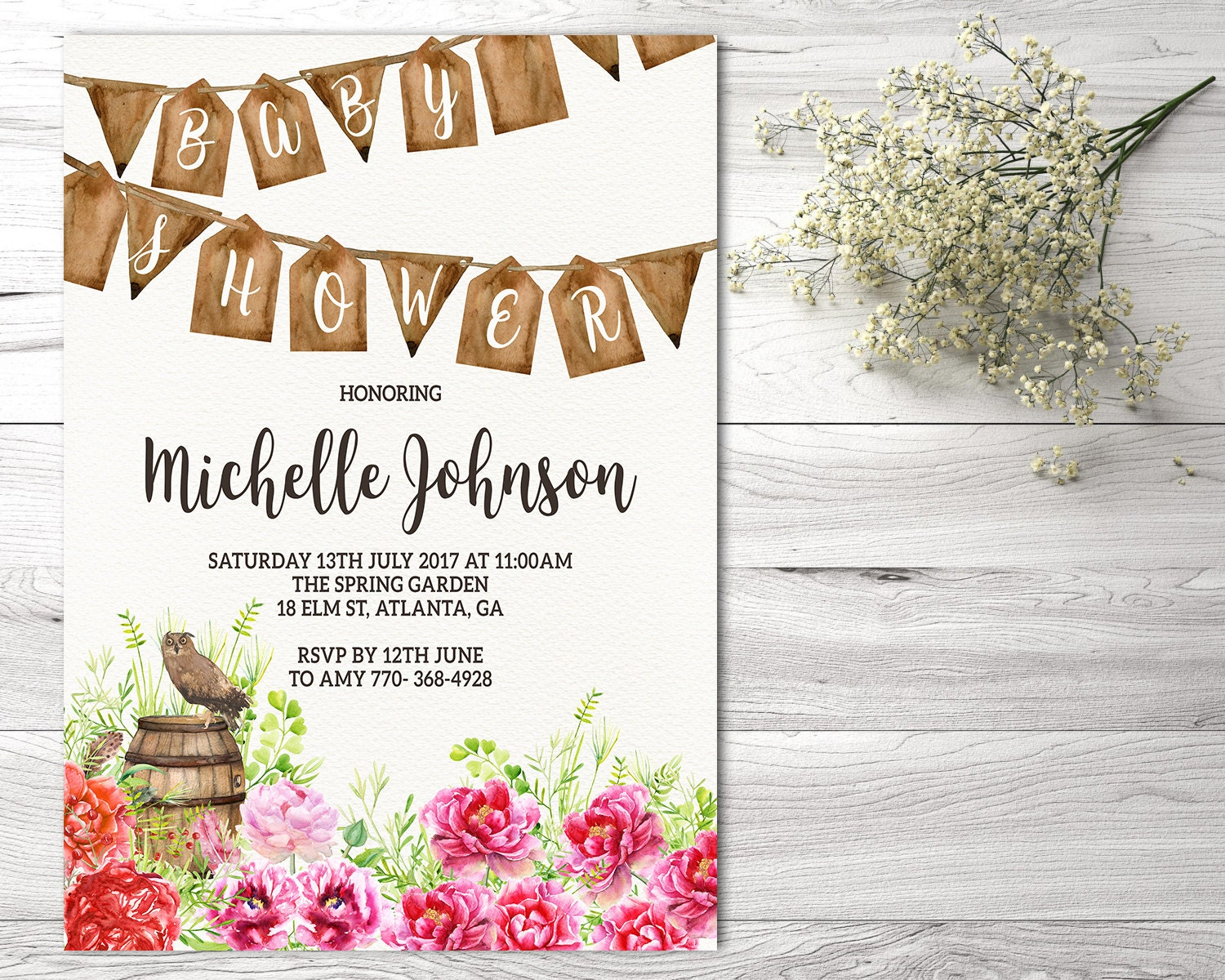 rustic baby shower invitation woodland baby shower invitation