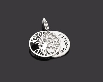 Christening jewellery engraved christening tree 925 Silver Pendant to the baptism gift tree of life