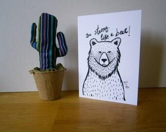 Bear, the strong. Greeting card. Blank card.
