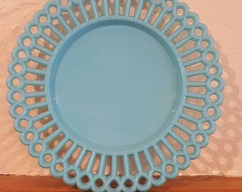 Vintage Blue Milk Glass Plate