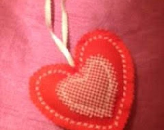 Red felt and red gingham heart with lavender