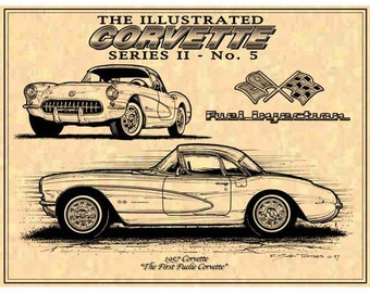 1957 First Fuelie Corvette,57 C1 Corvette Print,C1 Corvette,Man Cave Decor,Teeters,Nostalgic Corvette,57 Corvette Print,Americas Sports Car