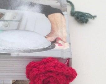 Crochet Flower Bookmark, Flower Bookmark, Rose Bookmark, Yellow rose, Red Rose, Pink Rose, Crochet Rose, Crochet Flower, Ladies Gift, Book
