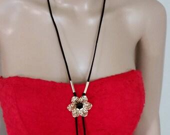 Black Adjustable Velvet Suede Women Choker Necklace, 18 k Gold Plated Flower Charm Pendant Necklace, Lariat Necklace, Bohemian Necklace