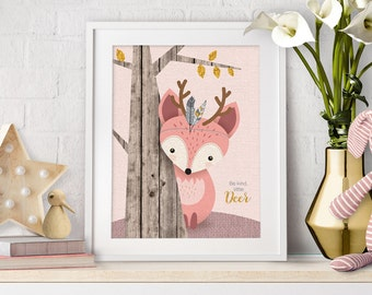 Woodlands Nursery, Nursery Wall Art, Rustic Nursery, Deer Nursery Decor, Baby Deer Print, Deer Art Print, Baby Girl Nursery, Quote Print