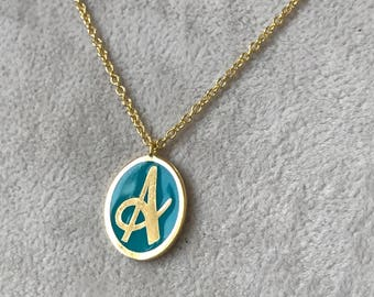 Necklace, Charm Necklace Initial, Letter Necklace, Personalized Initial Necklace, Dainty Letter Charm, Initial Necklace, Enamel Necklace