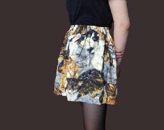 Cat Print Skirt, puffy short skirt, cat design skirt, vinage 1980 skirt, cat collector, grunge skirt, kawaii skirt XS S M size