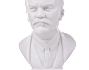 Soviet Russian USSR Leader Vladimir Lenin Marble Bust / Statue 10.5cm (4.1'') white