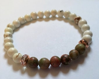 Green and White Stretch Bracelet