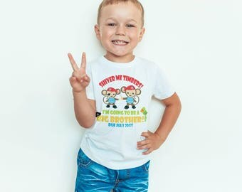 Personalised big brother sibling shirt, big brother pirate shirt, big brother monkey tshirt, shiver me timbers I'm going to be a big bro