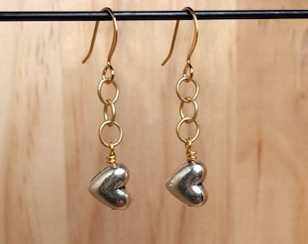 Gold & Silver Heart Earrings