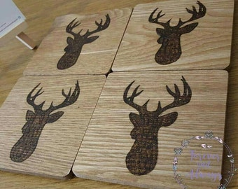 Stag, Stag Coasters, Custom Coasters, Tea & Coffee, Table Coasters, Silhouettes, Housewarming gift, Rustic Gift, Drink coasters