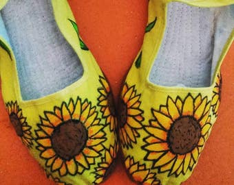Sunflower hand painted shoes (mary janes)