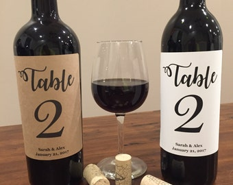 Customizable, Wine Table Number, Wedding Wine Table Number, Pack of four (4) Labels, Wine Bottle Label