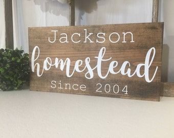 Personalized Family Homestead sign, Custom Family name Sign, Homestead Sign, Rustic Wood Sign, Custom Anniversary Gift