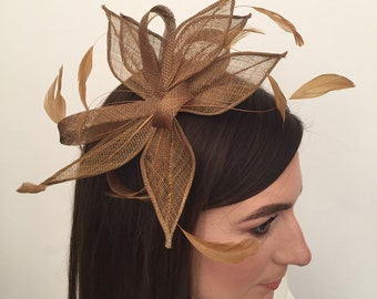 Autumn Coffee Coloured Flower and Feather Fascinator on A Comb Bridal Prom Races Race Day Wedding Hair Piece Hatinator Ascot Hat