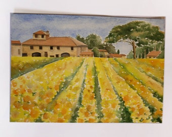 Watercolor landscape Tuscany Italy sunflower field small painting on paper with flowers trees holiday gift idea watercolored fashion colors