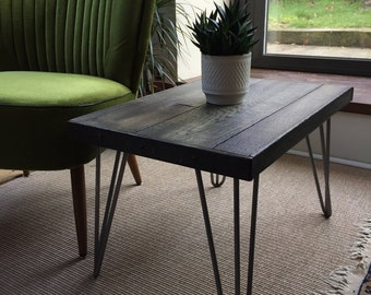 Reclaimed Timber Side Table With Hairpin Legs