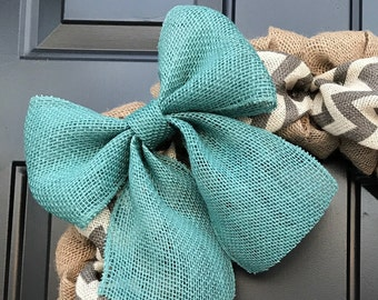 Blue Burlap Bow, Wreath Bow, Floral Bow, Decorative Bow, Wedding Bow, Rustic Bow, Interchangeable Bow, Home Decor, Front Door Wreath Bow