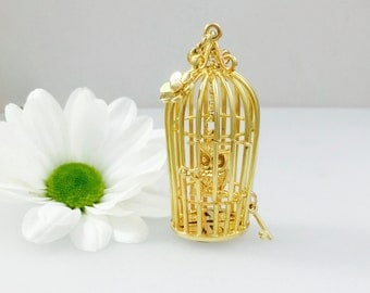 Gold Birdcage necklace statement piece,  handmade cage pendant with Owl/bird enclosed, solid 9ct gold with hidden diamond and opening door.