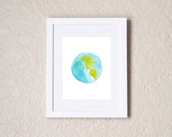 Earth, Earth Print, Watercolor Painting, Watercolor Print, Watercolor Art, Planet Earth, Planet Prints, Earthbound, Earth Day, Outer Space