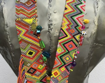 Woven in multicolored rock necklace