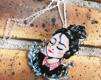 Necklace illustrated woman/girl hand made flower bun