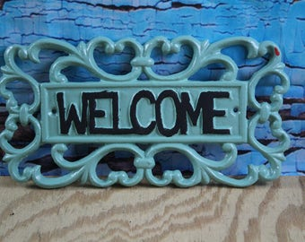 Cast Iron Welcome Sign Jade
